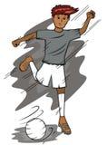 Calciatore che dà dei calci al fumetto della palla Fotografie Stock Libere da Diritti