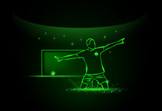 Calciatore con la sfera celebrazione dello scopo, stile al neon Immagine Stock