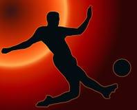 Calciatore della siluetta di sport di tramonto Fotografie Stock