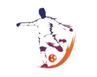Calciatore moderno nel logo di azione - palla sul calcio di rigore del fuoco Immagine Stock