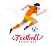 Calciatore sulla coppa del Mondo di calcio del fondo dello stadio Giocatore di football americano in Russia 2018 illustrazione vettoriale