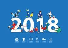 Calciatori durante il nuovo anno di azione del 2018 Fotografia Stock Libera da Diritti