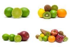 Calcini ed altri frutti isolati su fondo bianco Immagine Stock