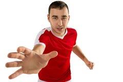 Calcio aggressivo e minaccioso o giocatore di football americano fotografie stock