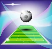 Calcio astratto sul fondo del campo Fotografie Stock