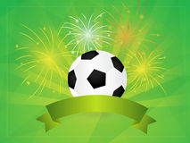 Calcio con il fondo dei fuochi d'artificio e dell'insegna Fotografia Stock