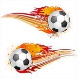 calcio con le fiamme Immagini Stock