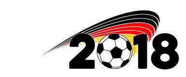 Calcio 2018 dell'insegna della Germania con la bandiera fotografia stock