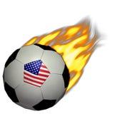 Calcio della tazza di mondo/gioco del calcio - S.U.A. su fuoco Fotografia Stock