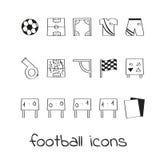 Calcio delle icone di tiraggio della mano Raccolta dei segni lineari di calcio Fotografie Stock