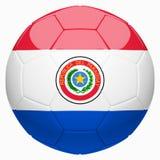 Calcio di calcio con la rappresentazione della bandiera 3d del Paraguay Fotografia Stock