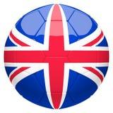 Calcio di calcio con la rappresentazione della bandiera 3d del Regno Unito Fotografie Stock