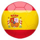 Calcio di calcio con la rappresentazione della bandiera 3d della Spagna Fotografia Stock Libera da Diritti