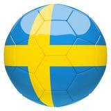 Calcio di calcio con la rappresentazione della bandiera 3d della Svezia Fotografia Stock