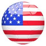 Calcio di calcio con lo stato unito della rappresentazione della bandiera 3d dell'America Immagini Stock