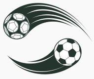 Calcio di calcio che si muove per mormorare gli elementi, segno dinamico di sport Vettore illustrazione vettoriale