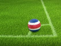 Calcio di calcio con la bandiera di Costa Rican Immagini Stock