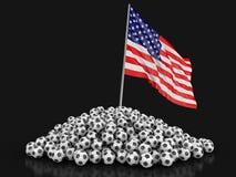 Calcio di calcio con la bandiera di U.S.A. illustrazione di stock