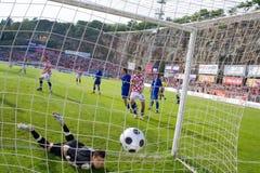 Calcio di footbal (obiettivo) fotografia stock