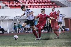 Calcio di Gibilterra - finali quarti della tazza della roccia del punto di europa di europa v Fotografie Stock