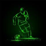 Calcio di gocciolamento Funzionamento del calciatore con la palla Stile al neon Fotografia Stock Libera da Diritti