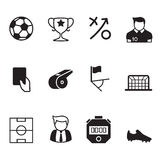 Calcio di vettore & icone neri di calcio Immagini Stock