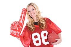 Calcio: Donna che incoraggia con il dito di numero uno Immagini Stock Libere da Diritti