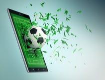 Calcio e nuova tecnologia della comunicazione Fotografia Stock