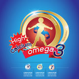 Calcio e vitamina di Omega per il concetto Logo Gold Kids dei bambini Fotografie Stock Libere da Diritti