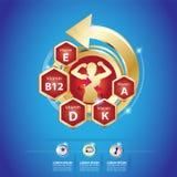 Calcio e vitamina di Omega per il concetto Logo Gold Kids dei bambini Fotografia Stock