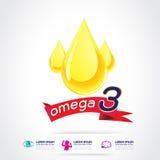Calcio e vitamina di Omega per il concetto Logo Gold Kids dei bambini Immagini Stock Libere da Diritti