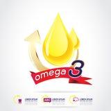 Calcio e vitamina di Omega per il concetto Logo Gold Kids dei bambini Fotografia Stock Libera da Diritti