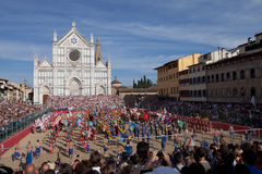 calcio fiorentino佛罗伦丁的比赛反撞力 库存图片