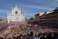 Calcio Fiorentino oder florentinisches Stoßspiel Stockbild