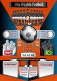 Calcio grafico di informazioni su fondo arancio Immagini Stock Libere da Diritti