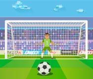 Calcio Il portiere, illustrazione di vettore di un portiere prepara prendere una pena Immagini Stock Libere da Diritti