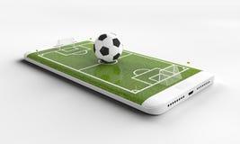 Calcio mobile Campo di football americano sullo schermo e sulla palla dello smartphone Concetto online di vendite dei biglietti r fotografia stock libera da diritti