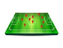 Calcio o campo di football americano con i giocatori Immagine Stock