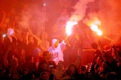 Calcio o tifosi che celebra scopo Immagine Stock Libera da Diritti