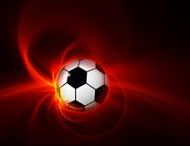 9 calcio/palloni da calcio ardenti su fondo nero Fotografia Stock Libera da Diritti