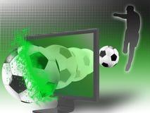 Calcio sulla televisione 3d Fotografia Stock