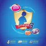 Calcio y vitamina de Omega para el concepto Logo Gold Kids de los niños Imágenes de archivo libres de regalías