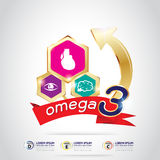 Calcio y vitamina de Omega para el concepto Logo Gold Kids de los niños Fotografía de archivo
