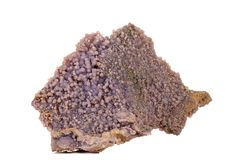 Calcita de piedra macra del cobalto mineral en el fondo blanco fotografía de archivo libre de regalías