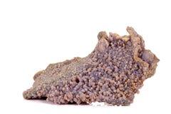 Calcita de piedra macra del cobalto mineral en el fondo blanco fotos de archivo