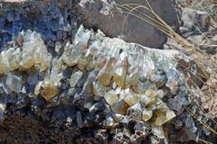 Calcite crystals. Rainbow section of calcite crystals stock images