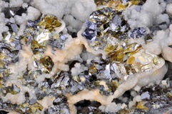 Calcite, galena, blenda Fotografia Stock Libera da Diritti