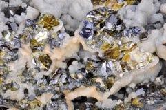 Calcite Galena, sphalerite Royaltyfri Fotografi
