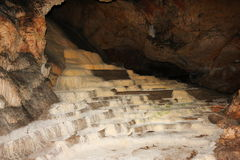 Calcite Stair Formations in a cave Stock Photo