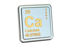 Calcium Ca, chemical element sign. 3D rendering. Isolated on white background Royalty Free Stock Photography
